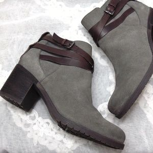 Sam Edelman Gray Suede Ankle Bootie Boots Shoes